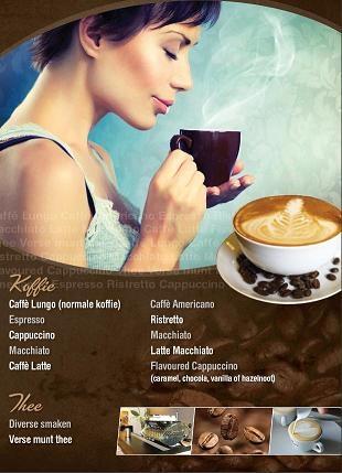 Voorbeeld van het koffie menu